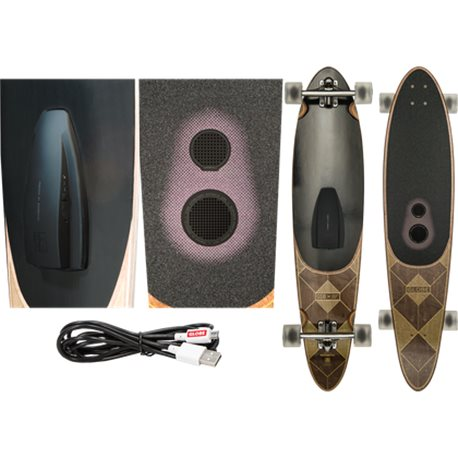 longboard Globe Pinner Bluetooth Skateboard Dark Maple Speaker System
