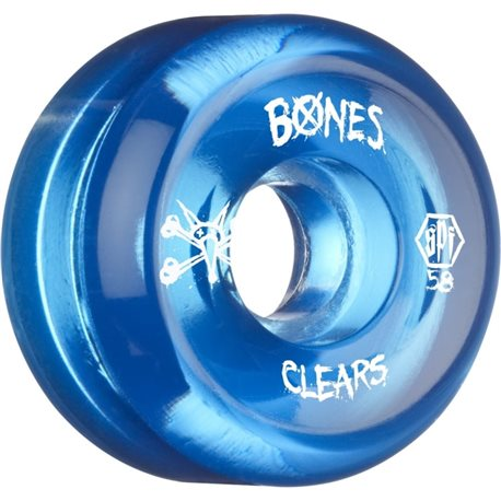 RUEDA BONES SKATEPARL CLEAR BLUE 58MM